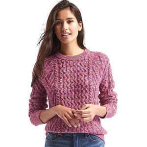 GAP Cable Crew Neck Pink Marled Sweater - M